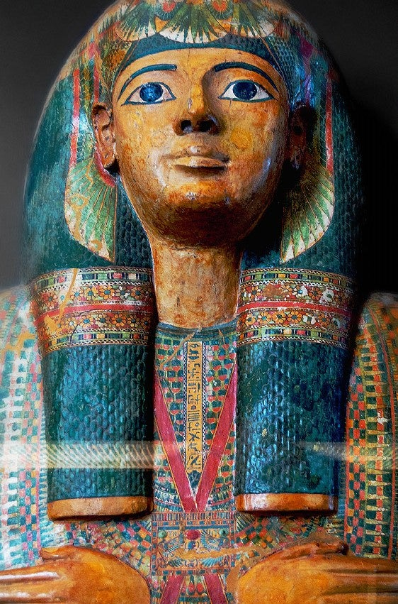 a sarcophagus painted colorfully