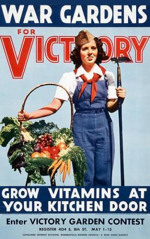 vintage poster of a woman standing with a basket of vegatables in front of the word 'victory'